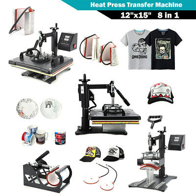 Digital 8 in1 Transfer Heat Press Machine Sublimation for T-Shirt Cup Printing.