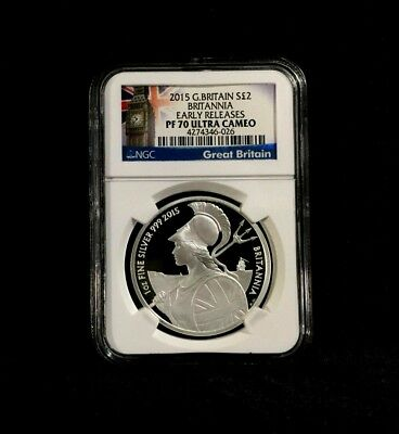 2015 Britannia NGC PF70 EARLY RELEASES GREAT BRITAIN 1oz Proof Silver £2 NO SPOT