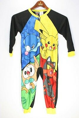 Kids Pokemon Pajamas one-piece sleeper Boys 4/5 100% Polyester Pikachu jump suit