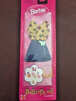 New Barbie Butterfly Art Fashion ~ 1998 ~ Yellow Butterfly Print Clothing