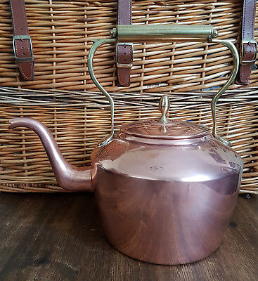 Large Antique Victorian Copper and Brass 8 Pt Kettle Swan Neck Spout