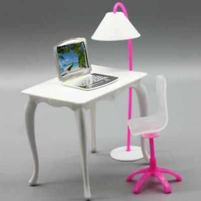 White Working Table Chair Light PC Accessories Set For Barbies Dolls Furniture