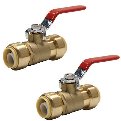 "2 Piece 3/4"" Sharkbite Style Push Fit Ball Valve  Full Port-Lead Free Brass"