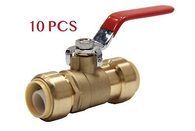 "10 Piece 3/4"" Sharkbite Style Push Fit Ball Valve Full Port, Lead Free Brass"
