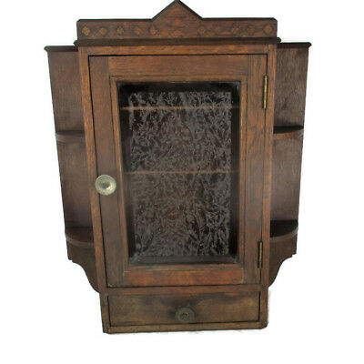 Vintage Kitchen Apothecary Bathroom Wall Cabinet Etched glass Door Inlay Display
