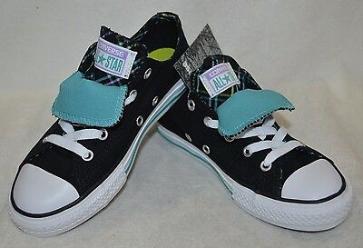 799581b15a9 Converse Girl s CT Double-Tongue OX Black White Aegean Sneakers - Size 2
