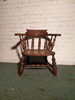 Victorian Low Bow Arm Smokers Captains Chair