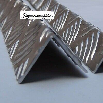 Folded Corner Protector Angle  - ALUMINIUM CHECKER PLATE 5 BAR  -  many sizes