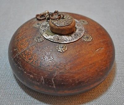 Original Old Antique Hand Crafted Metal Fitted Wooden Opium Tobacco Box