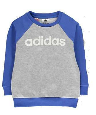 Adidas Linear Jumper Sweater Baby Boys Grey Blue Long Sleeves UK Size 2-3 Years