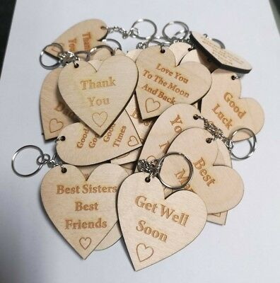EAST OF INDIA tiny miniature wooden HEART messages gift tags signs