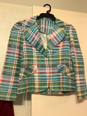 RARE Vintage GIRL'S STRIPED PASTEL BLAZER COAT UNION MADE EARLY 70'S MINT