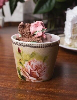 Victorian Trading Co Morning Pink Rose Ice Cream cups (Set of 4)