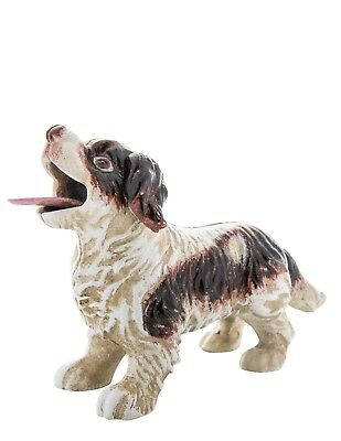 Victorian Trading NWD Brown White Spaniel Dog Cast Iron Mechanical Bank 25D