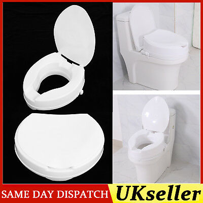 4INCH Raised Toilet Seat with Lid Elderly Patients Disability People