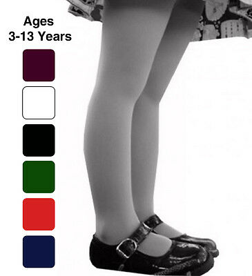 Girls School Tights Plain Rich 7 Colours Ages 0 1 2 3 4 5 6 7 8 9 10 11 12 13