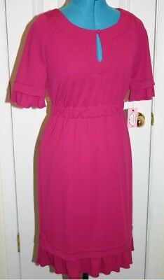 35e9f22c13e ANTHROPOLOGIE PHOEBE COUTURE By KAY UNGER Fuschia Knit Dress Size 12