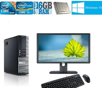 FULL DELL/HP Core i5 or Core i3 DESKTOP TOWER PC & LCD WIN10 16GB 3TB 500GB SSD