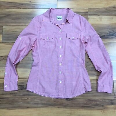 Converse Womens Small Light Red Collared Button Up