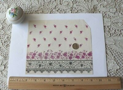"Lovely French Antique c1870-80 Bandana Hand Painted Textile Artwork~L-6"" X W-7"""