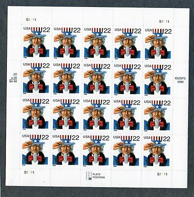U.S. PANE OF 20 SCOTT#3259 1998 22ct UNCLE SAM (ROW 3 #3259a) MNH P#S1111