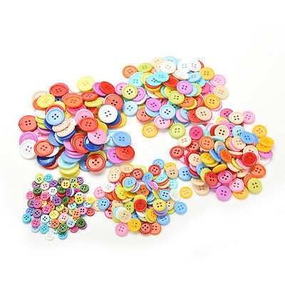100pcs 4 Holes Mixed Color Round Buttons Fit Sewing and Scrapbook 9~20mm DIYk!