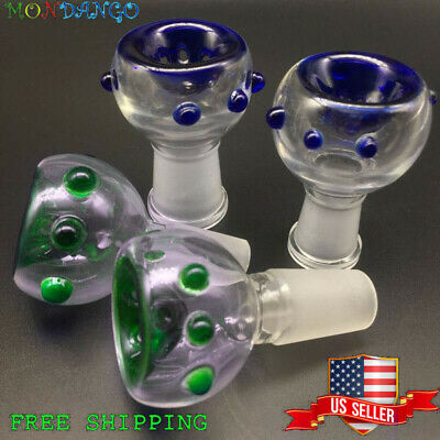 14mm 18mm Male Female Blue Slide Glass Bowl With Built In Screen Free Shipping