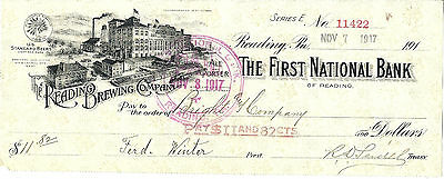 1917 Reading Brewing Co Bank Check, First National Bank of Reading Pennsylvania