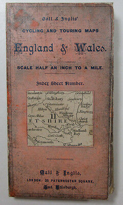 approx 1875 antique Gall & Inglis Cycling & Touring half-inch Map Dorsetshire