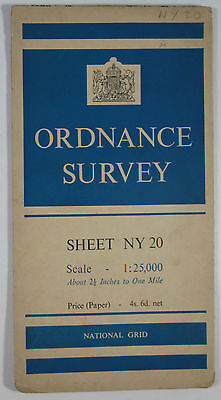 1948 old vintage OS Ordnance Survey 1:25000 First Series Prov map NY 20 Sca Fell