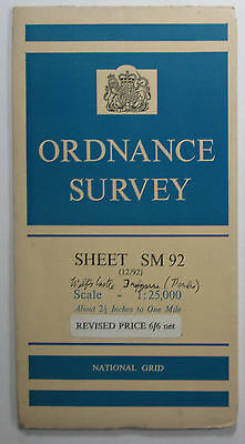 1951 vintage OS Ordnance Survey 1:25000 First Series Map SM 92 Wolf's Castle