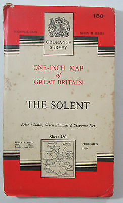 1963 old vintage OS Ordnance Survey 7th series one-inch CLOTH Map 180 The Solent
