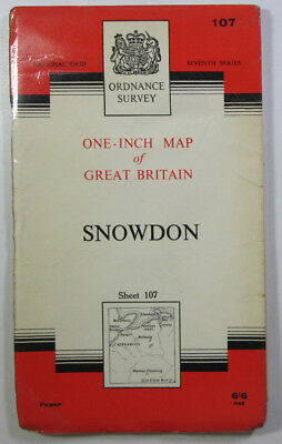 1965 old vintage OS Ordnance Survey seventh series one-inch Map 107 Snowdon