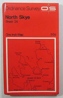 1972 old vintage OS Ordnance Survey Seventh Series One-inch map 24 North Skye