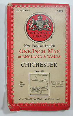 1947 Old OS Ordnance Survey one-inch CLOTH map New Popular Ed 181 Chichester