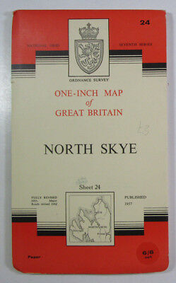 1963 Old Vintage OS Ordnance Survey Seventh Series One-inch Map 24 North Skye