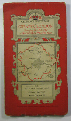 1935 old OS Ordnance Survey half inch District Special Relief Map Greater London