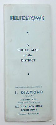 Approx 1950 old vintage Street Map Plan of Felixtowe and District