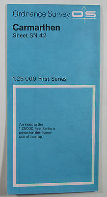 1966 old vintage OS Ordnance Survey 1:25000 First Series Map SN 42 Carmarthen