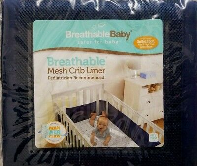 BreathableBaby Breathable Mesh Liner for Portable and Cradle Cribs - NAVY - NEW