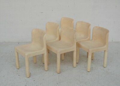 set of 6 white chairs model 4875 design Carlo Bartoli per Kartell 70s