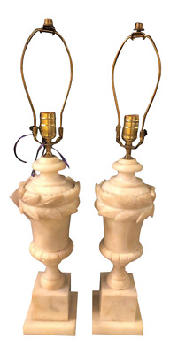 French Neoclassical Style White Alabaster Urn Shaped Table Lamps - a Pair