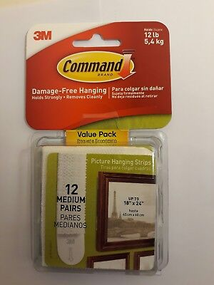Command 3M Picture Strip Sets Medium Size White Frame Hanging Damage free 12ct