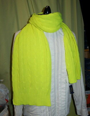 NWT POLO RALPH LAUREN unisex 100% cashmere neon yellow cable scarf $198 - soft