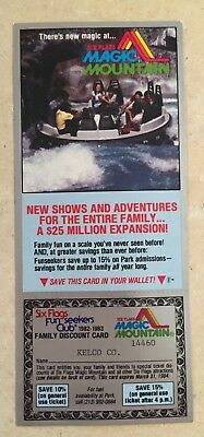 Vintage 1981 Six Fags Magic Mountain Family Discount Card (Los Angeles)