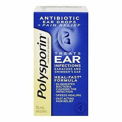 Polysporin Pain Relief Antibiotic Ear Drops 15 ml,  Treats Ear infections