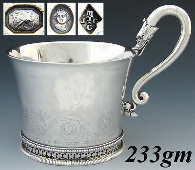 Rare Antique French Sterling Silver Chocolate, Coffee or Tea Cup, Swans, c.1809