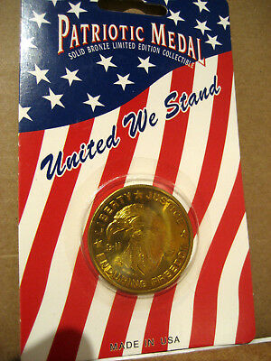 Collectible Patriotic Solid Bronze Medallion, 2001 Hoffman Mint, United We Stand