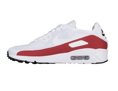 c6b78dc85b59 Nike Air Max 90 UL 2.0 Flyknit Mens 875943-102 White Red Running Shoes Size