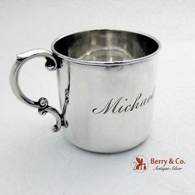 Vintage Childs Cup Scroll Handle Watson Sterling Silver